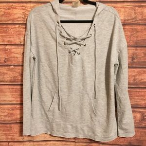 Mossimo supply co. Gray lace up light hoodie